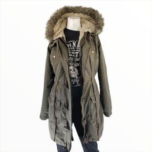 Long Tall Sally Khaki Parka Sherpa Lined Size 10